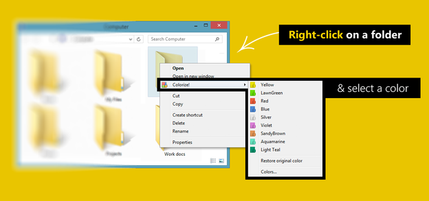 Customize folders with different colors in Windows OS Right-click-and-colorize