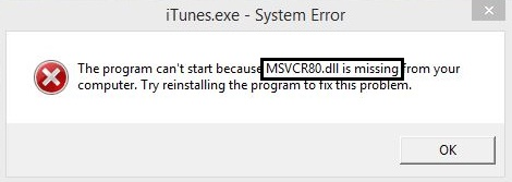 How to fix msvcr80.dll is missing Error